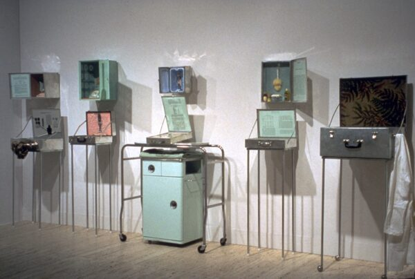 An installation of Medical Series, featuring several cabinets and vitrines.
