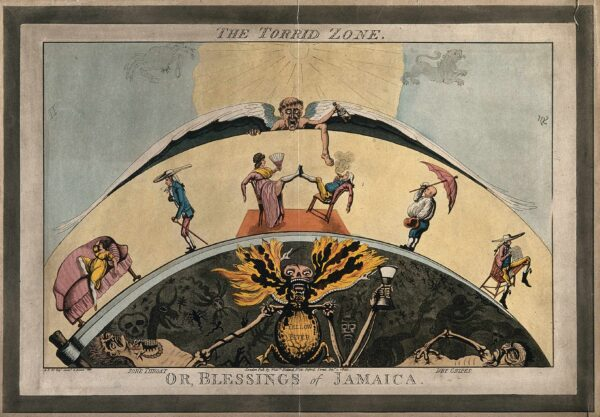 """A colored aquatint shows a scythe's blade curved in the shape of a semicircle. Underneath the blade is a skeletal beast-like figure holding an hourglass labeled """"Yellow Fever"""" with diseased bodies labeled """"Sore Throat"""" and """"Dry Gripes"""" at its left and right. Dark insects and snakes populate the semicircle's dark background. Arched above are a number of seated, reclining, and standing white colonists. A winged elderly figure hovers above in the sky holding a bottle of opium, and the sun and zodiac symbols for cancer and leo are behind him. The work is labeled """"The Torrid Zone"""" above the print, and below """"Or, the Blessings of Jamaica."""""""